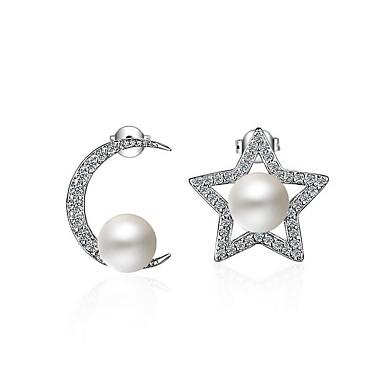 Mulheres Estrela Imitação de Pérola Pérola Zircão Brincos Curtos - Personalizada Original Imitação de Pérola Estrela Para Festa Dia a Dia