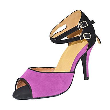 Mulheres Sapatos de Dança Latina Seda Sandália / Têni Presilha Salto Agulha Personalizável Sapatos de Dança Roxo / Couro / Profissional