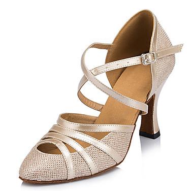 Mulheres Sapatos de Dança Moderna Courino Sandália / Têni Presilha Salto Agulha Personalizável Sapatos de Dança Dourado / Preto / Prata