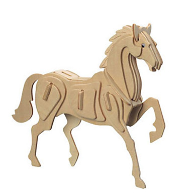 3D Puzzles Metal Puzzles Wood Model Model Building Kit Horse DIY Natural Wood Classic Kid's Adults' Unisex Gift