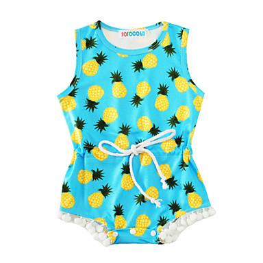 bebê Crianças Peça Única Verão Misto de Algodão Sem Manga Branco Azul Claro