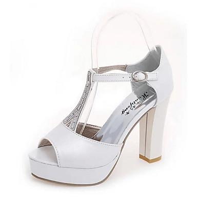 Naisten Kengät Synteettinen mikrokuitu PU / PU Syksy muodollinen Kengät Korkokengät Valkoinen / Hopea