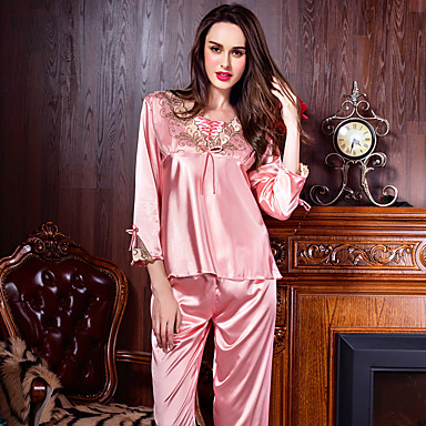 Women's Suits Nightwear,Sexy Solid-Thin