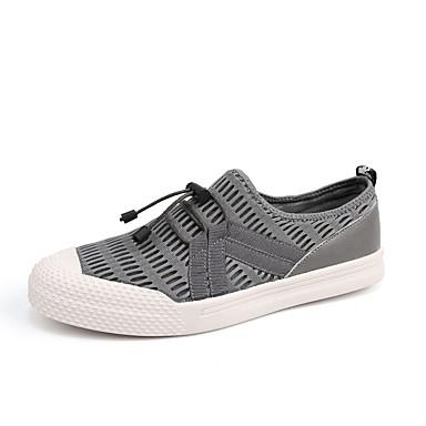 Herre sko ånd bare Blanding Tyll Tekstil Vår Sommer Komfort Lette såler Treningssko Strikk Til Avslappet Svart Mørkeblå Grå