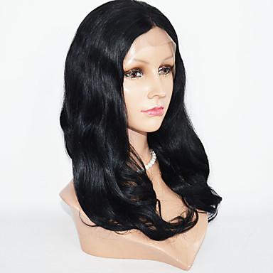 Ekte hår Blonde Forside Parykk Bølget Naturlige bølger 130% tetthet 100 % håndknyttet Afroamerikansk parykk Naturlig hårlinje Ombre-hår