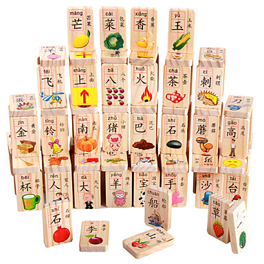 Building Blocks Educational Toy Domino & Tile Game Toys Fun Natural Wood Children's Unisex Pieces