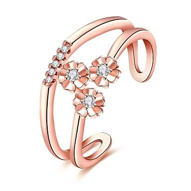 Dame Ring Kubisk Zirkonium Personalisert Blomster Luksus Geometrisk Unikt design Klassisk Vintage Rhinestone Bohemsk Grunnleggende Hjerte
