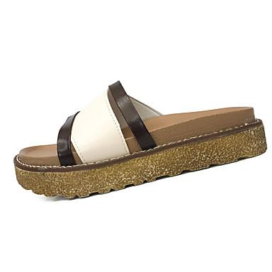 Women's Shoes PU Summer Light Soles Flats Walking Shoes Flat Heel Round Toe for Casual Dress Black Beige
