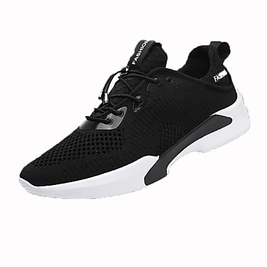 Men's Shoes Tulle Spring Fall Comfort Athletic Shoes Walking Shoes Lace-up For Casual White Black Gray