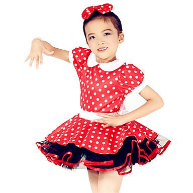 Roupas de Dança para Crianças Vestidos Crianças Actuação Elastano Poliéster Arco(s) Bolinhas 2 Peças Manga Curta Natural Vestido Tiaras