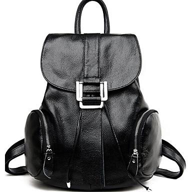 Women Bags All Seasons Cowhide Backpack for Casual Brown Black Wine