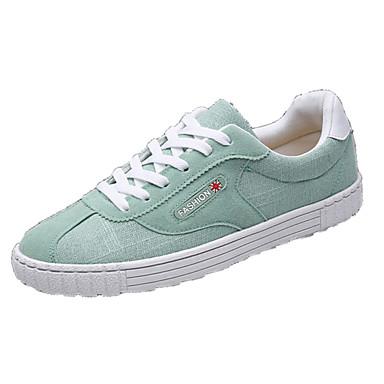 Homens sapatos Couro Ecológico Primavera Outono Conforto Tênis para Ao ar livre Preto Bege Verde