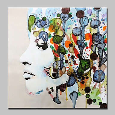 Oil Painting Hand Painted - People Abstract Modern Canvas