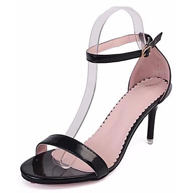 Mulheres Sapatos Couro Envernizado Couro Ecológico Verão Plataforma Básica Saltos Caminhada Salto Agulha Dedo Apontado Presilha para