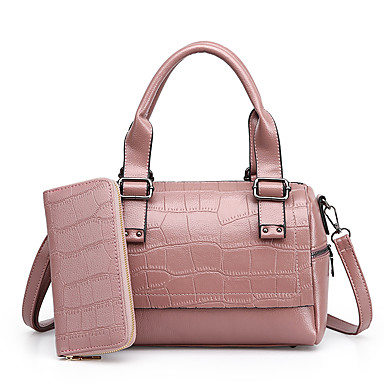 Women's Bags PU Bag Set 2 Pieces Purse Set for Casual All Seasons Blue Black Red Blushing Pink