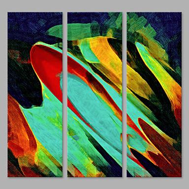 Håndmalte Abstrakt Lodrett,Kunstnerisk Tre Paneler Lerret Hang malte oljemaleri For Hjem Dekor