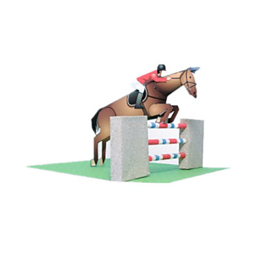 3D Puzzles Paper Model Paper Craft Model Building Kit Horse Competition DIY Classic Sports Unisex Gift