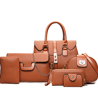 Women's Bags PU Bag Set 6 Pieces Purse Set for Casual All Seasons Gold Black Gray Brown