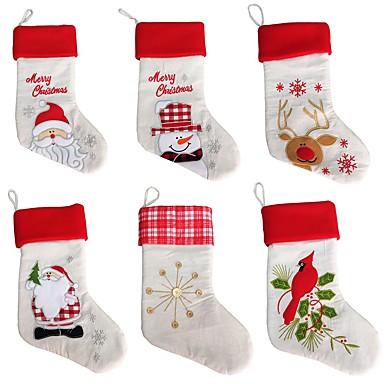 Ano novo meias de natal meias santa claus bolsa de presente de doces xmas árvore pendurado ornamento decoração (estilo aleatório)