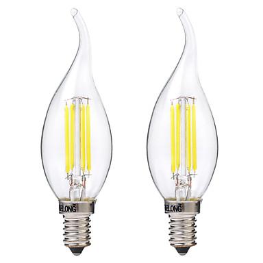BRELONG® 2pcs 4W 400lm E14 Lâmpadas de Filamento de LED C35 4 Contas LED COB Branco Quente Branco 220-240V