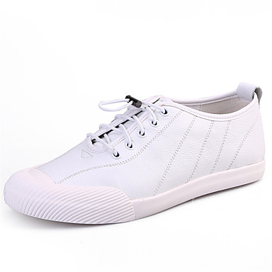 Men's Shoes Real Leather Fall Winter Comfort Light Soles Sneakers Lace-up For Casual Outdoor Office & Career White Black Blue