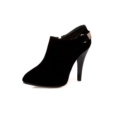 Mulheres Sapatos Courino Outono Inverno Conforto Botas Caminhada Salto Agulha Dedo Apontado Botas Curtas / Ankle Ziper para Casual Social