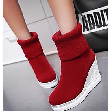 Naiset Kengät Nupukkinahka PU Syksy Comfort Bootsit Käyttötarkoitus Kausaliteetti Musta Keltainen Punainen