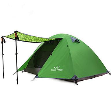 Trackman® 2 personer Telt Enkelt camping Tent Ett Rom To Rom Brette Telt Regn-sikker Støvtett Sammenleggbar til Camping & Fjellvandring