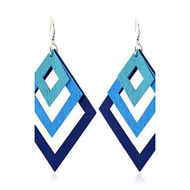 Women's Dangle Earrings Jewelry Double-layer Euramerican Simple Style Wood Geometric Jewelry For Gift Casual Outdoor clothing