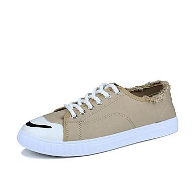 Homens sapatos Couro Ecológico Primavera Outono Conforto Tênis para Ao ar livre Preto Cinzento Amarelo Verde Khaki