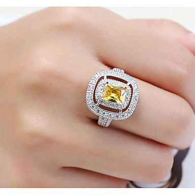 Dame Steninnfatninger Ring Band Ring Kubisk Zirkonium Rhinstein Personalisert Luksus Geometrisk Unikt design Klassisk Rhinestone