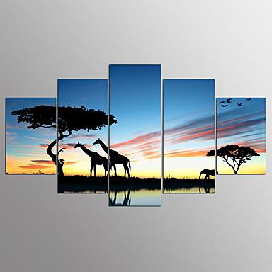 Pingoitetut kanvasprintit Abstrakti,5 paneeli Kanvas Horizontal Painettu Wall Decor For Kodinsisustus