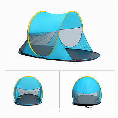 3 person Tent / Beach Tent Single Camping Tent Outdoor Pop up tent Rain-Proof / Dust Proof for Camping / Hiking 1000-1500mm Terylene