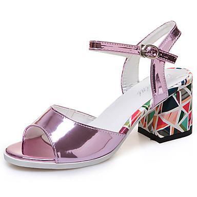 Mulheres Sapatos Couro Ecológico Verão Solados com Luzes Conforto Sandálias Salto de bloco Peep Toe Presilha para Social Branco Roxo