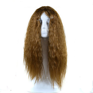 Synthetic Wig Curly Golden Asymmetrical Haircut Synthetic Hair Natural Hairline Golden Wig Women's Medium Length / Long Capless