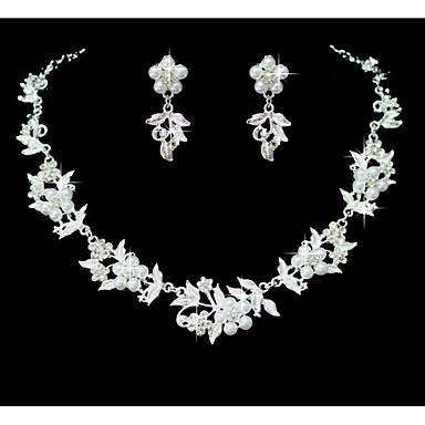 Mulheres Conjunto de jóias - Imitação de Pérola Flor Incluir Branco Para Casamento / Festa / Ocasião Especial / Aniversário