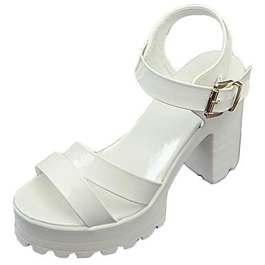 Mulheres Sapatos Borracha Verão Conforto Sandálias Caminhada Salto Robusto Presilha para Ao ar livre Branco Preto