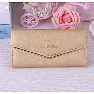 Women Checkbook Wallet PU All Seasons Casual Rectangle Magnetic Gold Black Blushing Pink