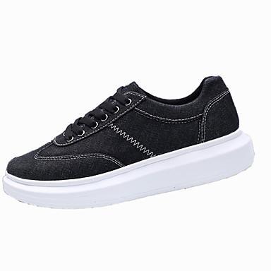 Homens sapatos Tecido Primavera Outono Solados com Luzes Tênis Cadarço para Casual Preto Cinzento Azul