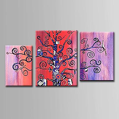 Håndmalte Abstrakt Vannrett, Abstrakt Lerret Hang malte oljemaleri Hjem Dekor Tre Paneler