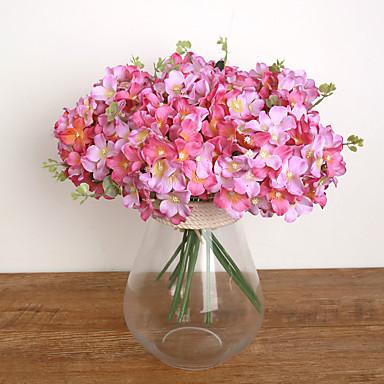 1 Branch Plastic Hydrangeas Plants Tabletop Flower Artificial Flowers