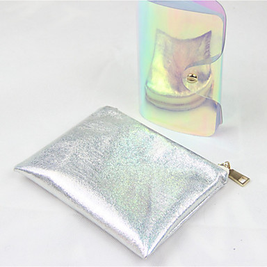 Women Bags All Seasons PU Cosmetic Bag for Casual Silver