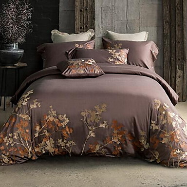 Embroidered 4 Piece Cotton Embossed Cotton 1pc Duvet Cover 2pcs Shams 1pc Flat Sheet