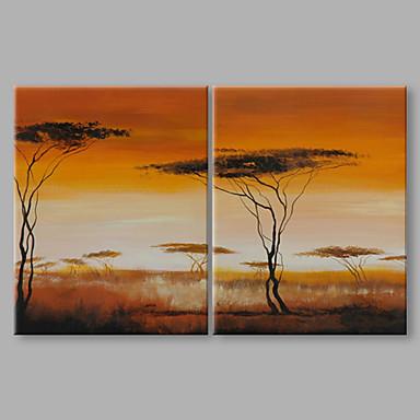 Maalattu Maisema Pystysuora panoraama, Taiteellinen Abstrakti Kangas Hang-Painted öljymaalaus Kodinsisustus 2 paneeli