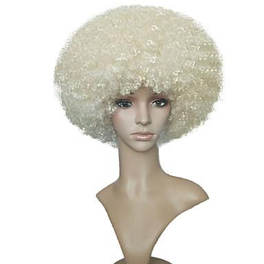 Szintetikus parókák Kinky Curly Szintetikus haj Fehér Paróka Női Rövid Blonde