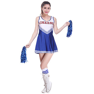 Fantasias para Cheerleader Vestidos Mulheres Espetáculo Poliéster Fibra de Leite Bloco de Cor Recortes Sem Manga Alto Vestido