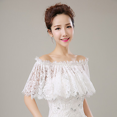 Lace Wedding Party / Evening Women's Wrap With Lace Capelets