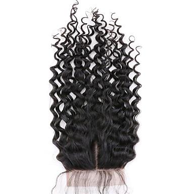 1 stk midterparti 4x4 brasiliansk dyp krøllet blonder lukning hår rå jomfru remy hår bleknet knuter topplokk