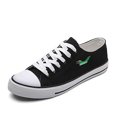 Homens sapatos Lona Primavera / Verão Solados com Luzes Tênis Branco / Preto