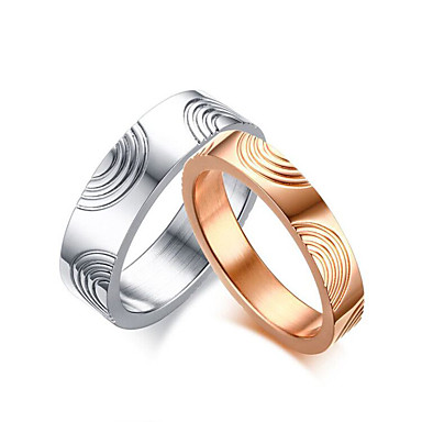 Casal Anéis de Casal titânio Ouro Rose Rosa ouro Aço Titânio Redonda Elegant Estilo simples Casamento Aniversário Festa Noivado Diário